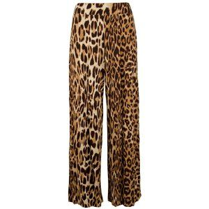 Brown Leopard Stretch Viscose Jersey Wide Pants 2X